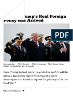 Donald Trump's Real Foreign Policy Has Arrived