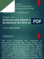 MARSHALL MIX DESIGN OF BITUMINOUS MIX WITH ADMIXTUREPPT