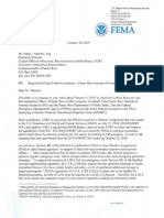 Carta de FEMA sobre fondos para el Negociado de Ciencias Forenses
