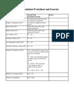 Earned Value Calculation Worksheet