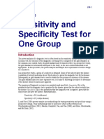 Sensitivity and Specificity Test for One Group