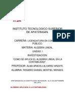 ALGEBRA LINEAL.U1.(Investigacion Algebra Aplicada Ala Conta) PDF