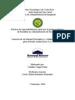 Creación de Un Manual Descriptivo y Análisis de Puestos Para El Hotel Arenal Kioro