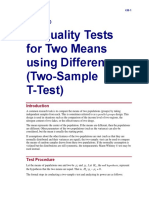 Inequality Tests for Two Means Using Differences (Two-Sample T-Test)