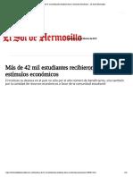 10-02-19 - EL SOL DE HERMOSILLO - Más de 42 mil estudiantes recibieron becas y estímulos económicos - El Sol de Hermosillo