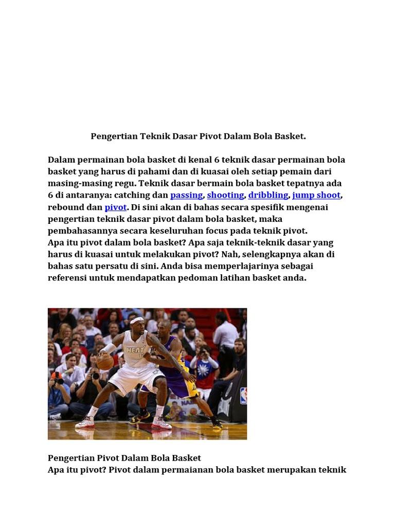 Pengertian Teknik Dasar Pivot Dalam Bola Basket