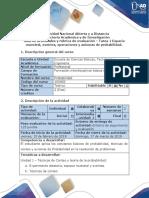 Guía de actividades y rúbrica de evaluación – Tarea 1-Espacio muestral, eventos, operaciones y axiomas de probabilidad