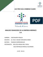 ANÁLISIS FINANCIERO MERINCO S.A