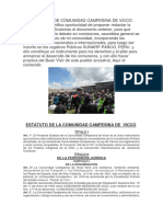 Estatuto de Comunidad Campesina de Vicco