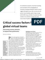 Critical Success Factors for Global Virtual Teams
