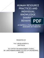 Human Resource Practices and Individual Knowledge Sharing Behaviour
