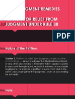 Petition for Relief From Judgments Orders or Other Proceedings Rule 38