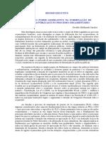 O PAPEL DO PODER LEGISLATIVO NA FORMULAÇÃO DE POLITICAS PUBLICAS