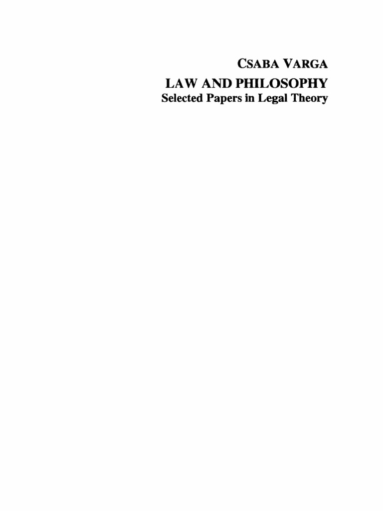 Varga Law and Philosophy 1994 | Sociology | Reality