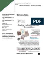 Convocatoria – Revista Notas Históricas y Geográficas