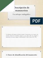 Descripción de manuscritos