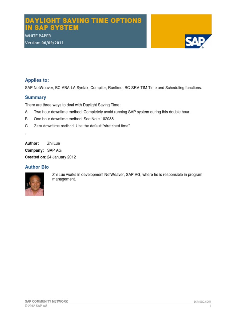 Daylight Saving Time Options In Sap System: White Paper Version: 06