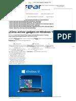 Como cargar gadget en windows 10