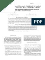 Evaluación Psicométrica Del Inventario Multifásico de Personalidad de Minnesota Para Adolescentes (MMPI-A) en Muestras Chilenas 1