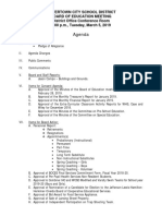 Watertown City School District Board of Education agenda March 5, 2019