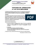 Certificado de Juridicion