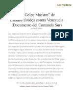 """El """"Golpe Maestro"""" de Estados Unidos Contra Venezuela (Documento Del Comando Sur), Por Stella Calloni"""