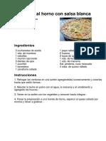 Vegetales Al Horno Con Salsa Blanca