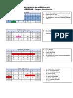 Calendário Acadêmico 2019 - Cursos Técnicos Integrados, Subsequentes e Cursos Superiores Presenciais