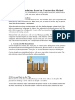 Types of Pile Foundations Based on Construction Method