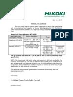 Test Certificate MIt600RE Hikoki