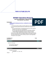 Operations Research - MTH601 Fall 2004 Final Term Paper