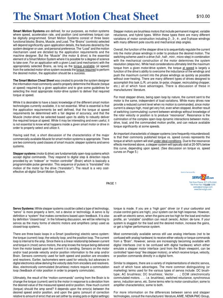 Smart Motion Cheat Sheet Rev3 pdf | Electric Motor