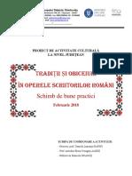 Activitati Schimb de Bune Practici Traditii Si Obiceiuri in Operele Scriitorilor Romani