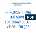 → NEUROVIT Onde Comprar | Funciona Mesmo? BULA - Valor - Preço?