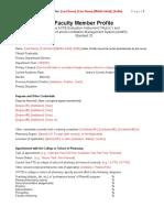Faculty Member Profile Template April 2011