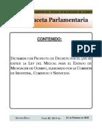 Ley del Mezcal Michoacán Gaceta-III-103-F-bis-XXXII-22-02-2018