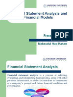Financial Statement Analysis and Financial Models