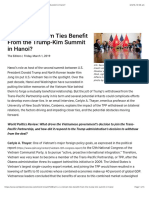 Thayer, Will U.S.-Vietnam Ties Benefit From the Trump-Kim Summit in Hanoi?