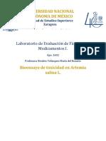 Bioensayo y Toxicidad en Artemia Salina