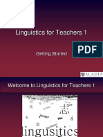 Meeting 1 - Introduction to Linguistics for Teachers
