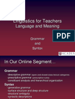 Online Syntax and Pedagogical Grammar