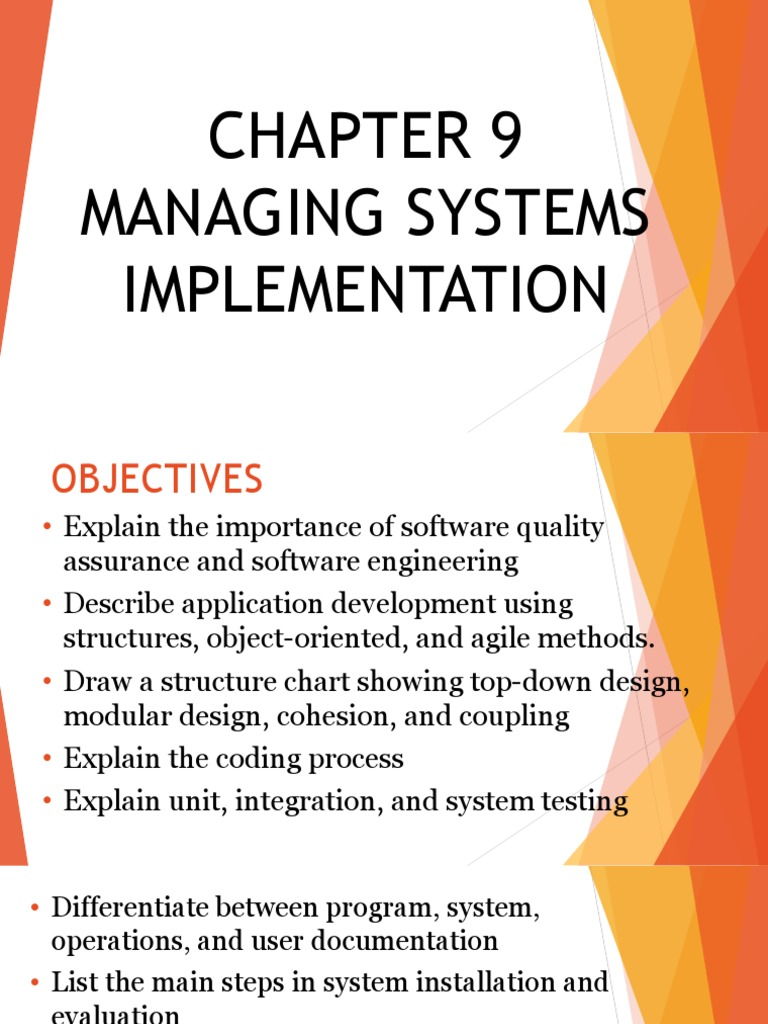 Managing Systems Implementation Software Development Object Oriented Programming