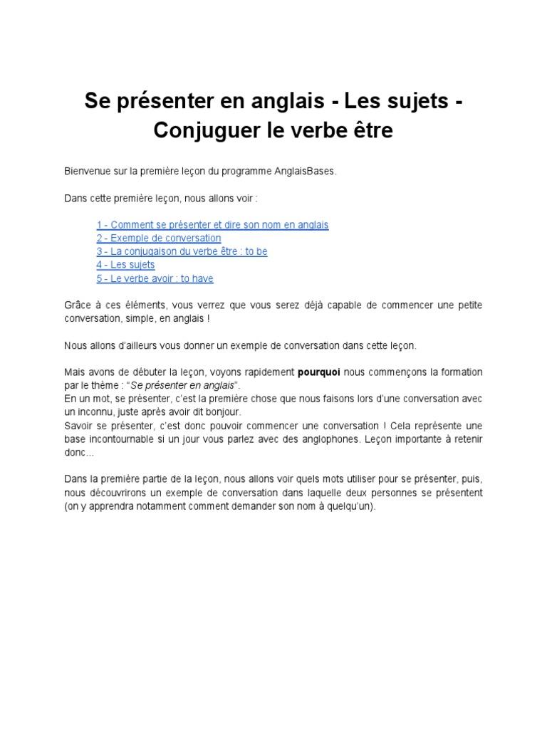 Se Presenter En Anglais Les Sujets Conjuguer Le Verbe Etre Verbe Mecanique Du Langage