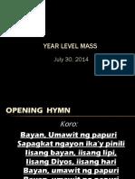 Year Level Mass 2014 - Yr 3, 073014