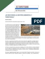 Militarizacion en políticas y gestión ambiental en Colombia