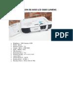 Projector Epson Eb x450 Lcd 3600 Lumens
