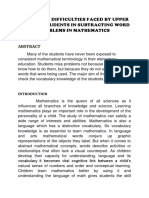 A STUDY ON DIFFICULTIES FACED BY UPPER PRIMARY STUDENTS IN SUBTRACTING WORD PROBLEMS IN MATHEMATICS