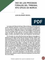 Catálogo de los Procesos Inquisitoriales del Tribunal del Santo Oficio