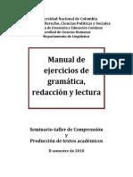 Manual de Ejercicios de Gramática, Redacción....