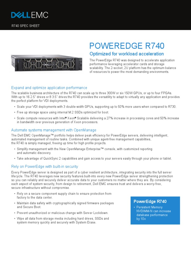 poweredge-r740-spec-sheet pdf | Solid State Drive | Hard Disk Drive